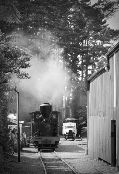 RawTherapee edit. Converted to B&W and edited to taste, to bring out the retro feel of the steam train era.